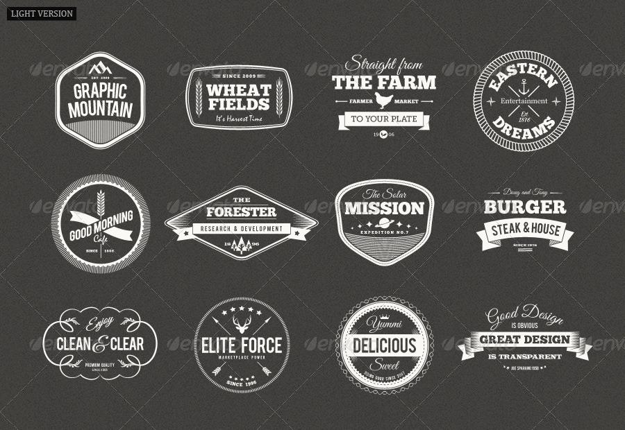 12 Retro Badges Vintage Labels V1