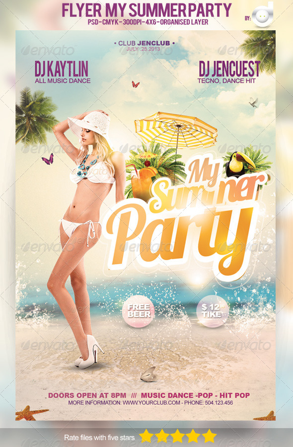 Flyer My Summer Party - Template - Clubs & Parties Events