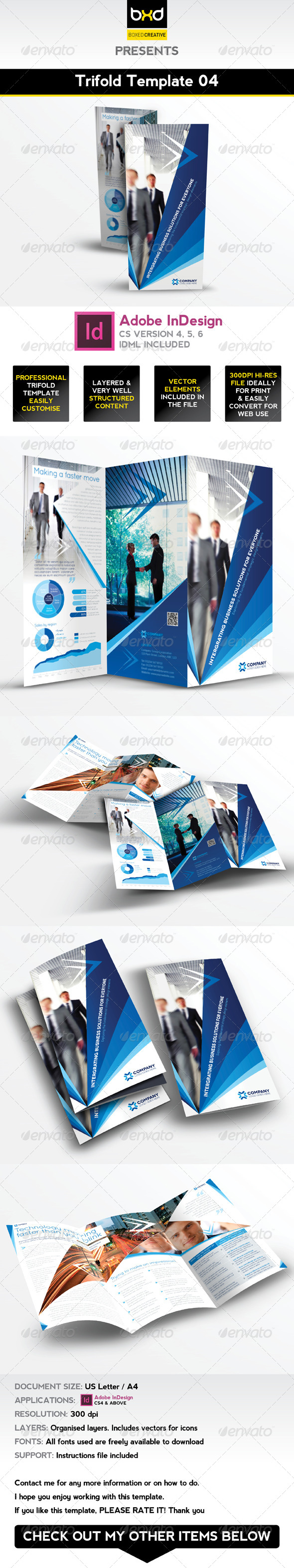 Trifold Brochure Template 04 - InDesign Layout - Corporate Brochures