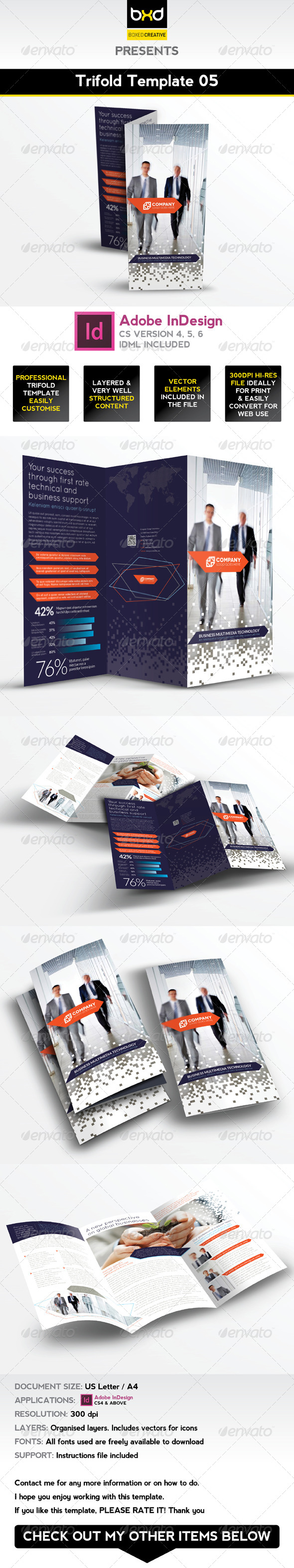 Trifold Brochure Template 05 - InDesign Layout - Corporate Brochures