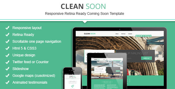 Clean Soon Responsive Retina Ready Coming Soon
