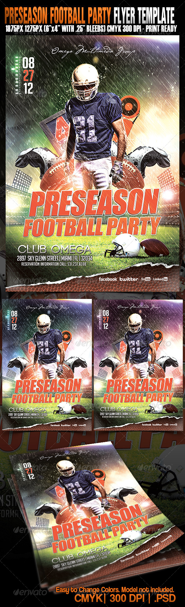 Preseason Football Party - Events Flyers