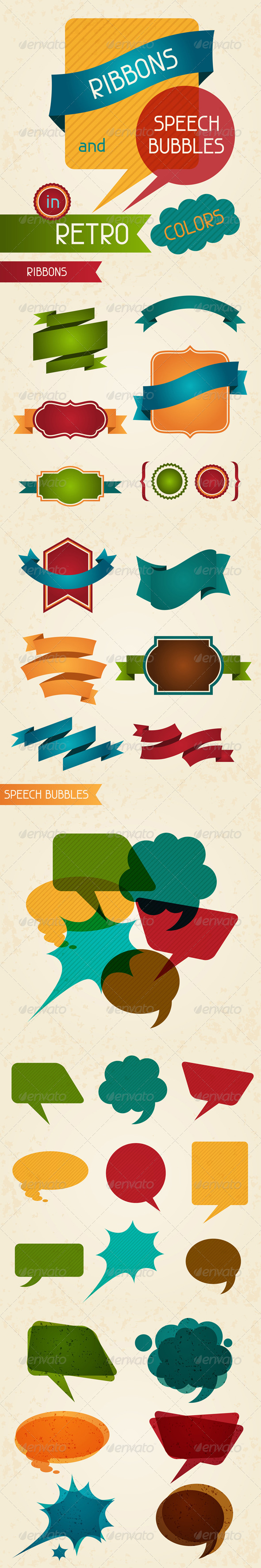 Ribbons and speech bubbles in retro colors. - Retro Technology