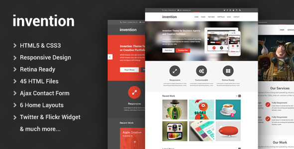 Invention – Responsive HTML5 Template