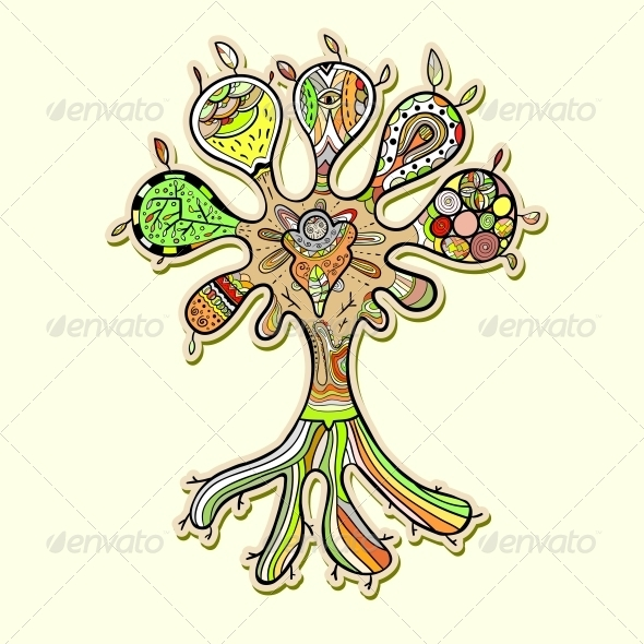 Abstract Tree Illustration with Ornaments  - Flowers & Plants Nature