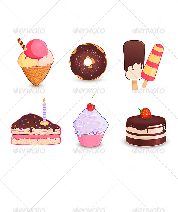 Desserts Icon Set - Food Objects