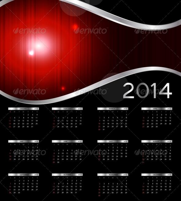 2014 New Year Calendar Vector Illustration - Christmas Seasons/Holidays