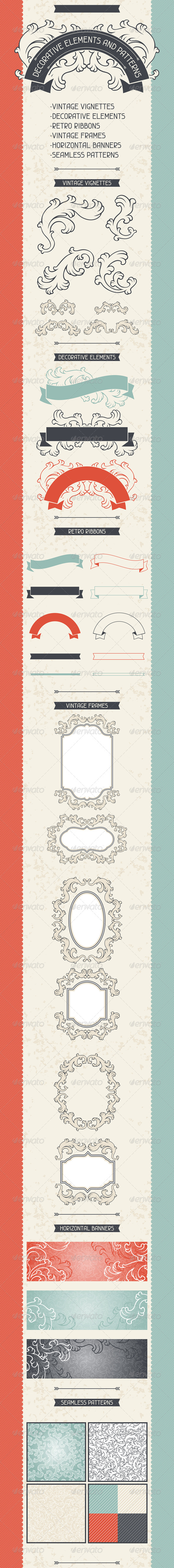 Decorative Elements and Patterns. - Decorative Vectors