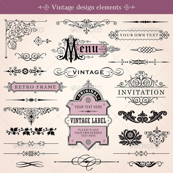 Vintage Calligraphic Design Elements Vector - Flourishes / Swirls Decorative