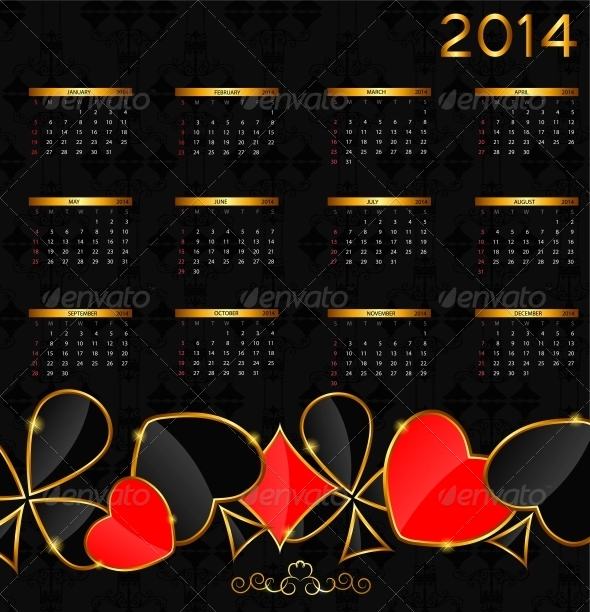 2014 New Year Calendar in Poker Theme - Christmas Seasons/Holidays