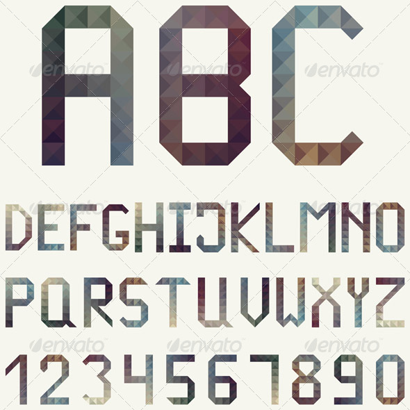Latin Alphabet made of Geometric Patterns - Miscellaneous Vectors