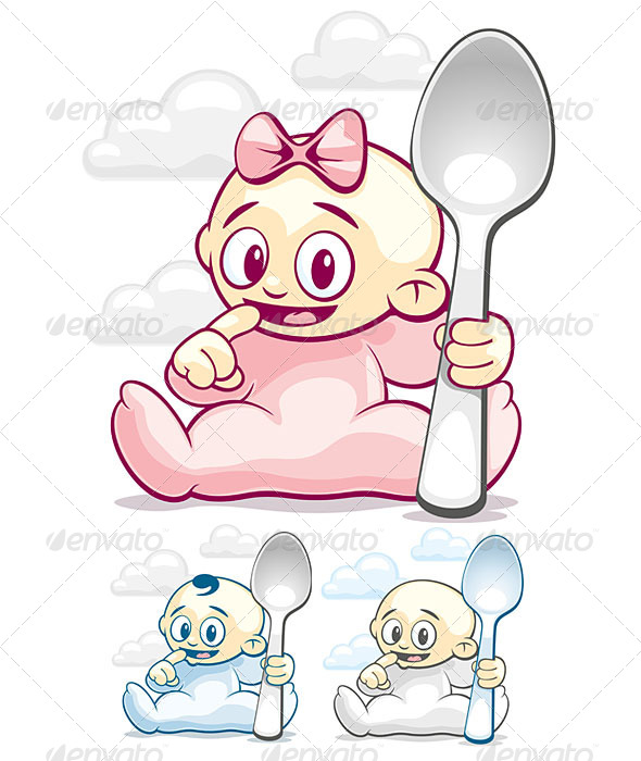 Cartoon Kids with Spoons - People Characters