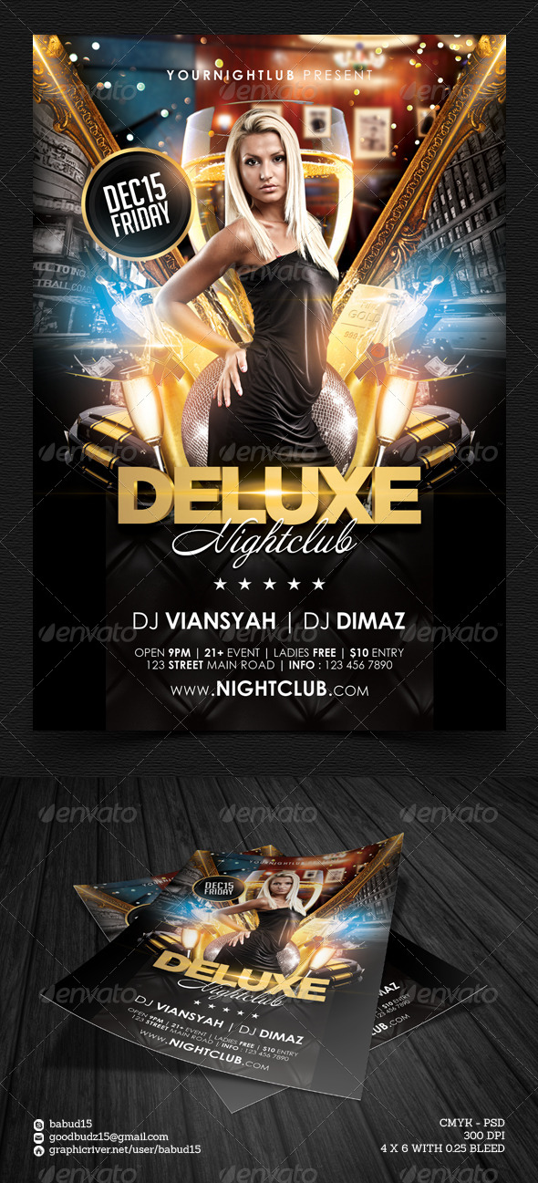 Deluxe Nightclub Flyer Template By Angkalimabelas | Graphicriver
