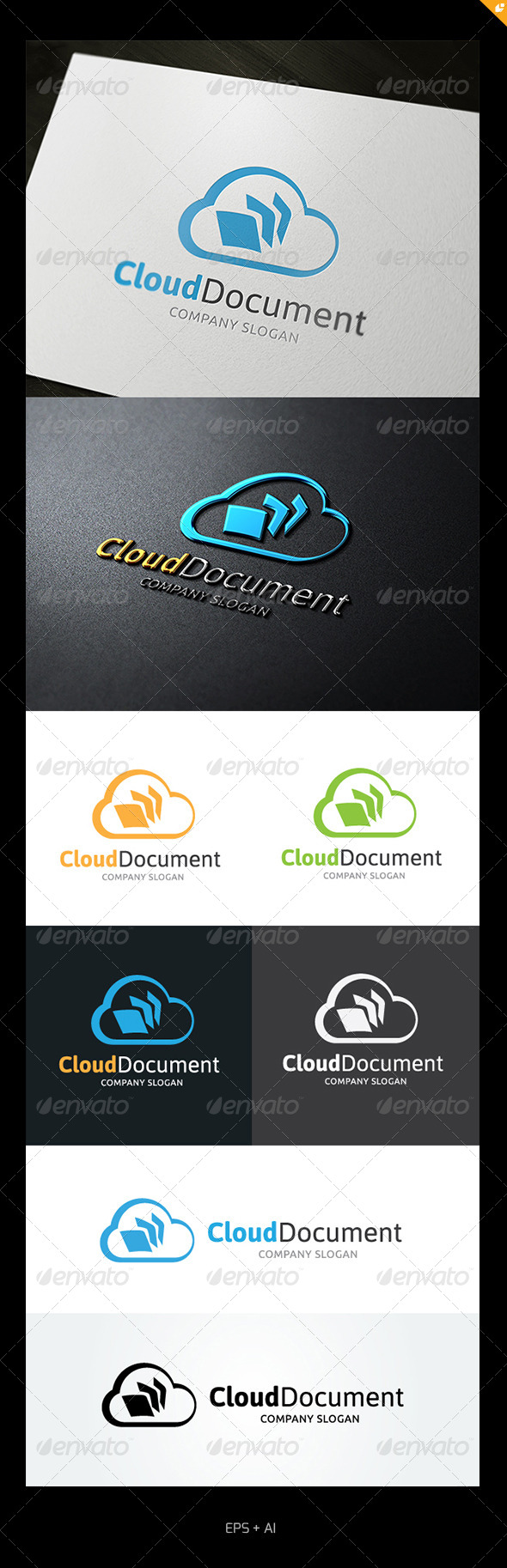 Cloud Document Logo - Nature Logo Templates