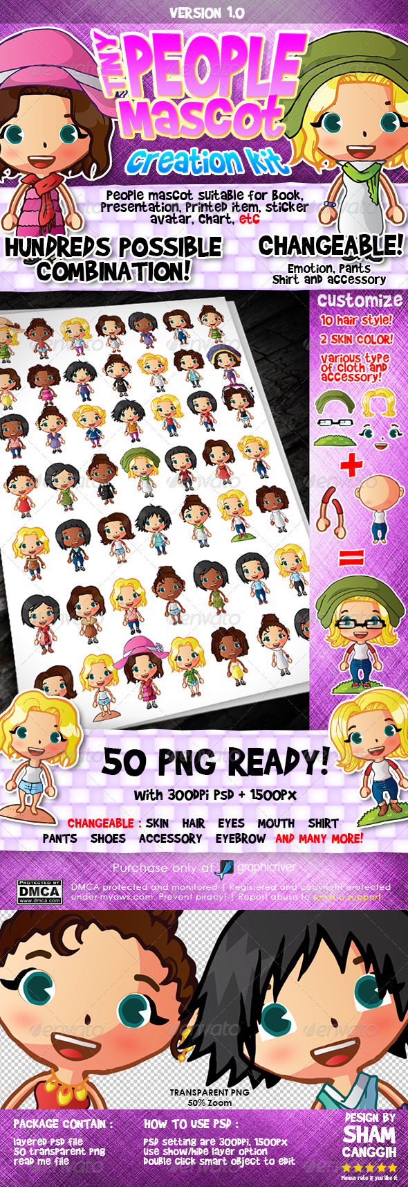 Tiny People Mascot Creation Kit : Female - Characters Illustrations