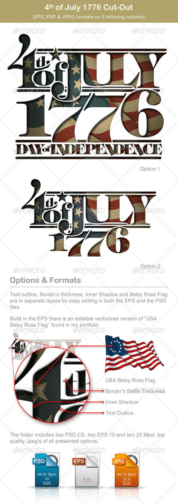 4th of July 1776 Cut-Out - Seasons/Holidays Conceptual