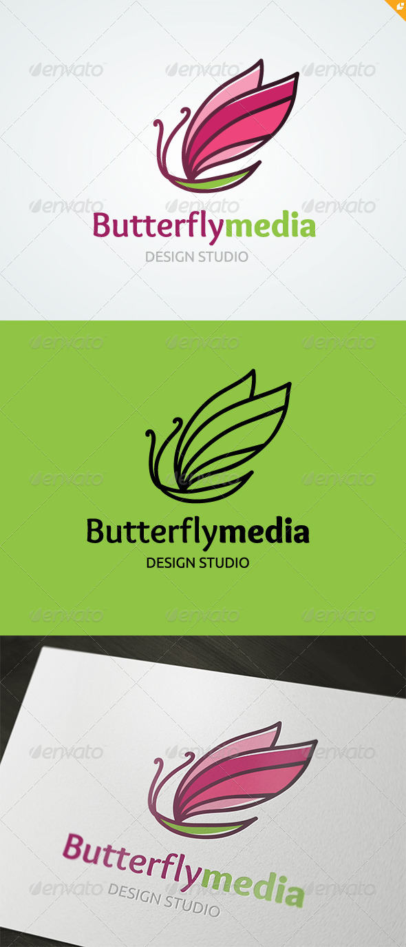 Butterfly Media Logo - Animals Logo Templates