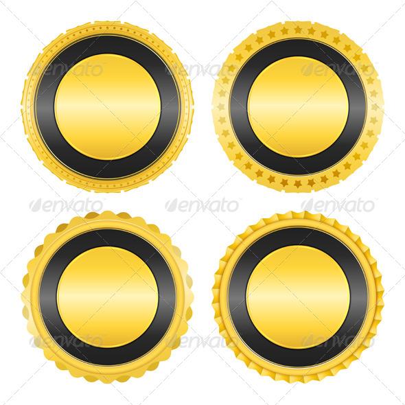 Golden Badges - Objects Vectors