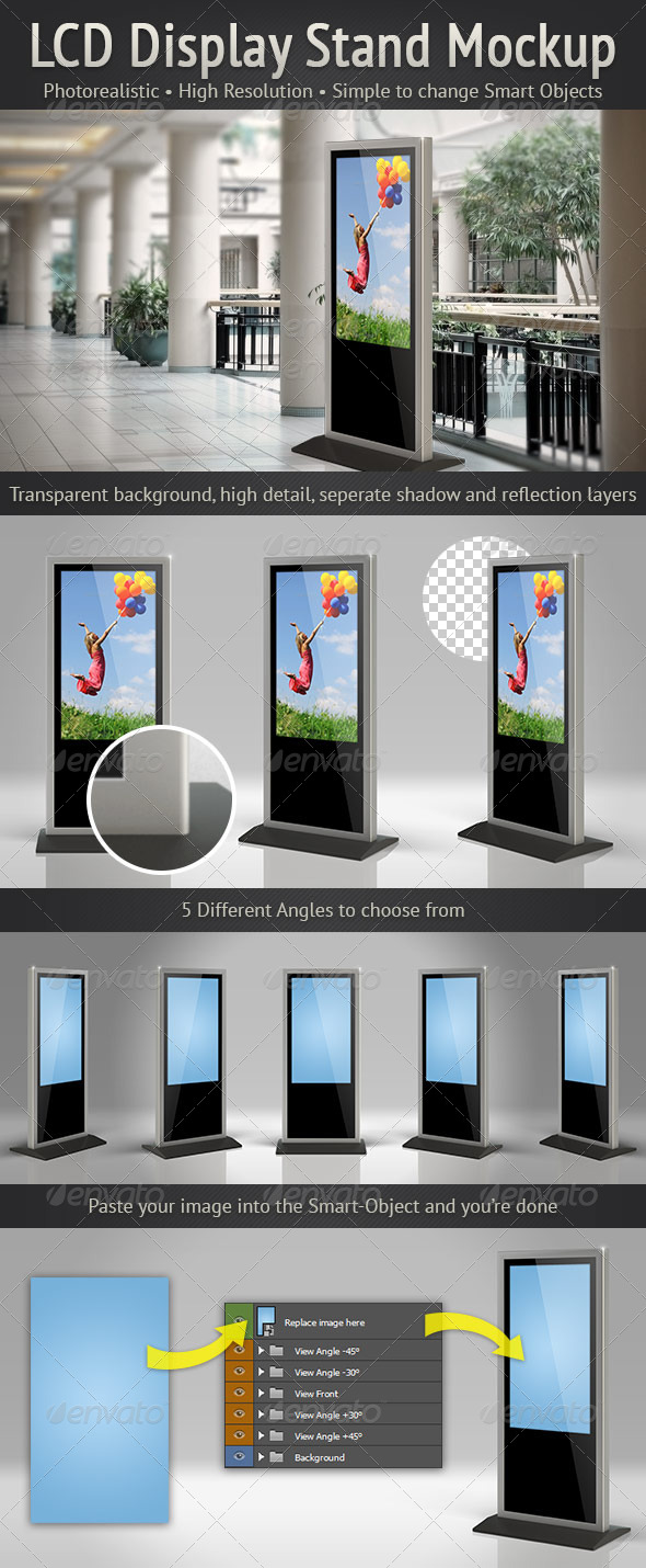 Simple Exhibition Stand Mockup : Lcd display stand mockup by voxel d graphicriver