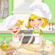 Mom and Daughter Baking Cookies in the Kitchen - GraphicRiver Item for Sale