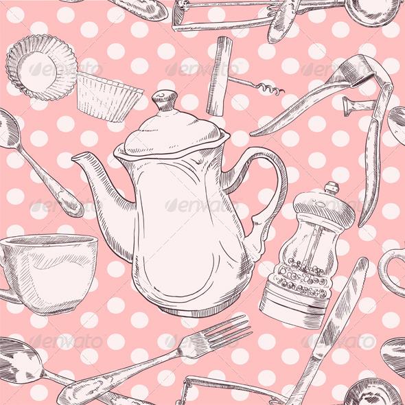 Seamless Pattern of Kitchen Utensils - Patterns Decorative