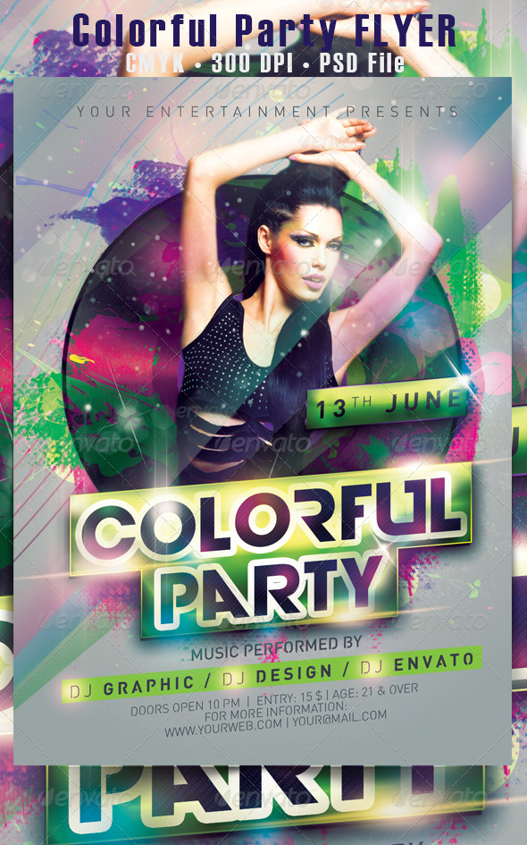 colorful party flyer by hdesign85
