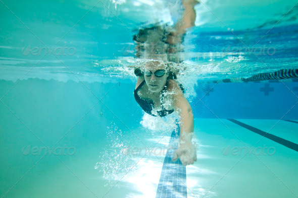 female competition swimmer - Stock Photo - Images