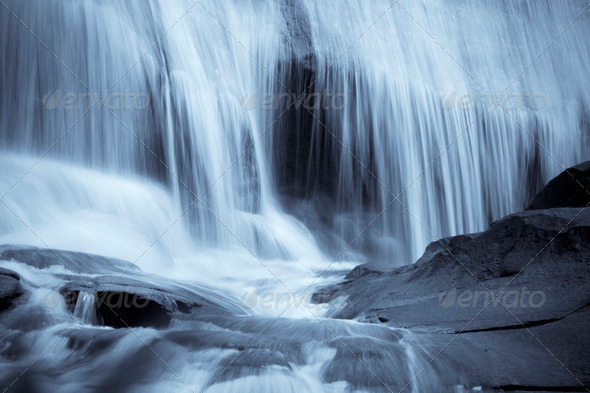 blue waterfall background - Stock Photo - Images