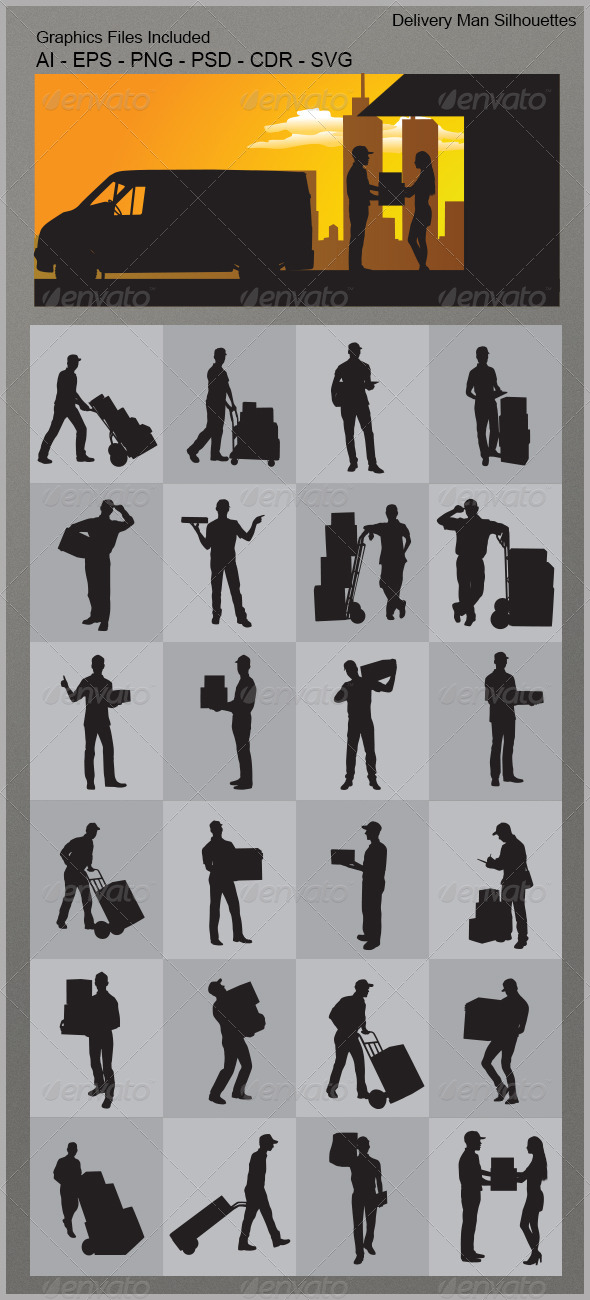 Delivery Man Silhouettes - People Characters