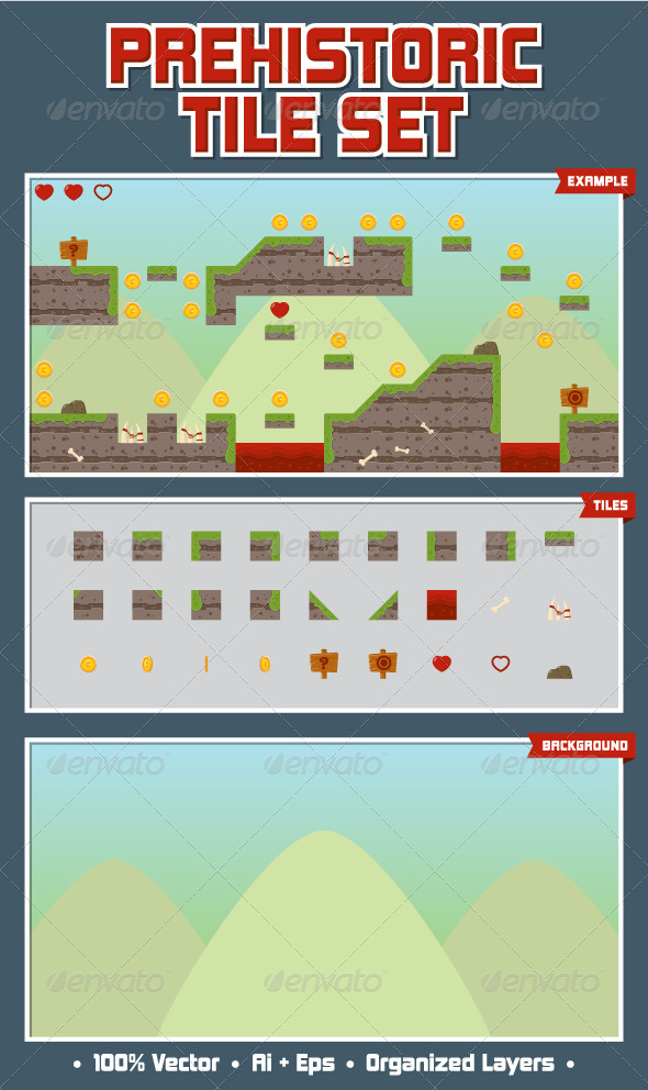 Prehistoric Game Tile Set - Tilesets Game Assets