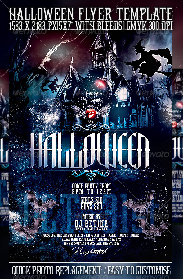 Halloween Flyer Template By Mexelina GraphicRiver - Free halloween flyer templates