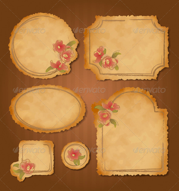 Set of Retro Floral Vintage Frames and Labels - Borders Decorative