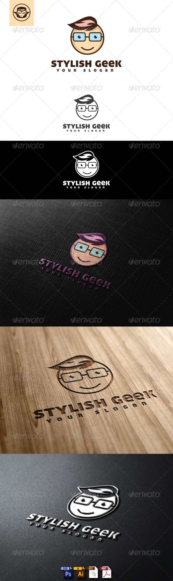 Stylish Geek Logo Template - Humans Logo Templates