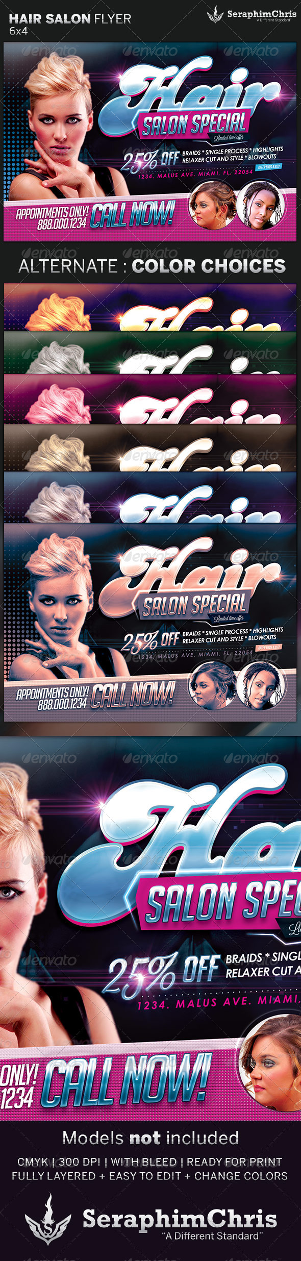 Hair And Beauty Salon Flyer Template   Commerce Flyers