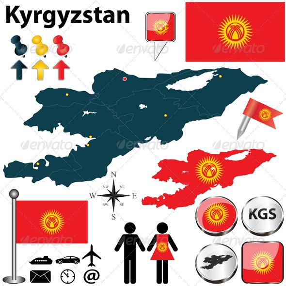 Map of Kyrgyzstan - Travel Conceptual
