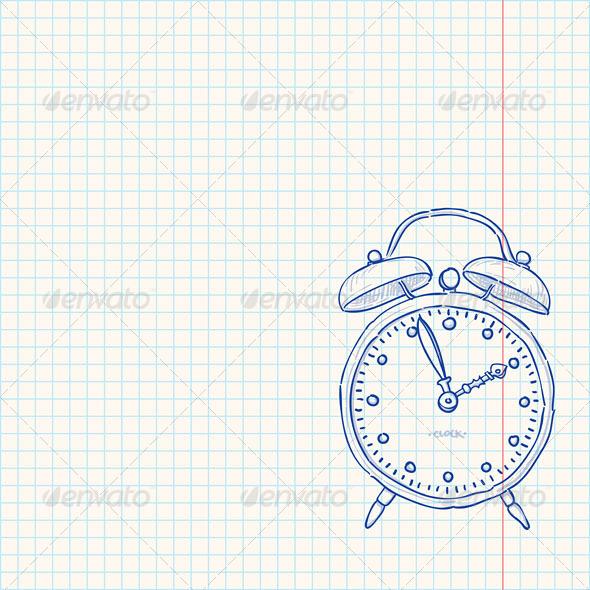 Alarm Clock Doodle - Vectors