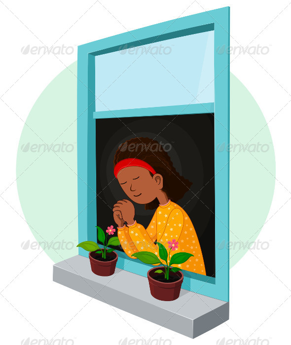 African Girl Praying - Religion Conceptual