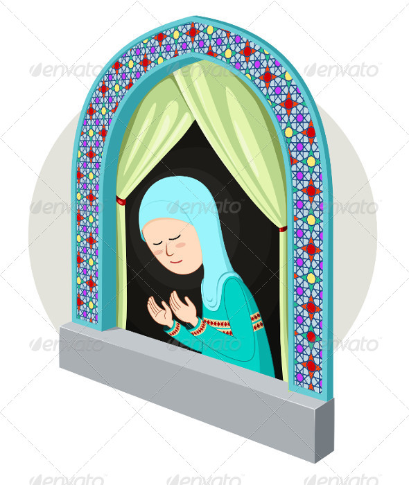 Arabic Girl Praying in the Window - Religion Conceptual