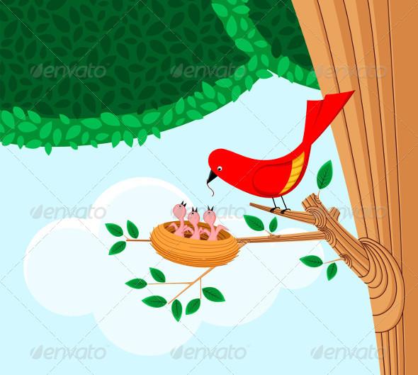 Bird Feeding Her Child - Animals Characters