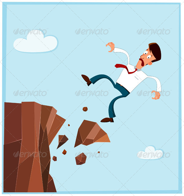 Businessman Falling from the Side of Cliff - Concepts Business