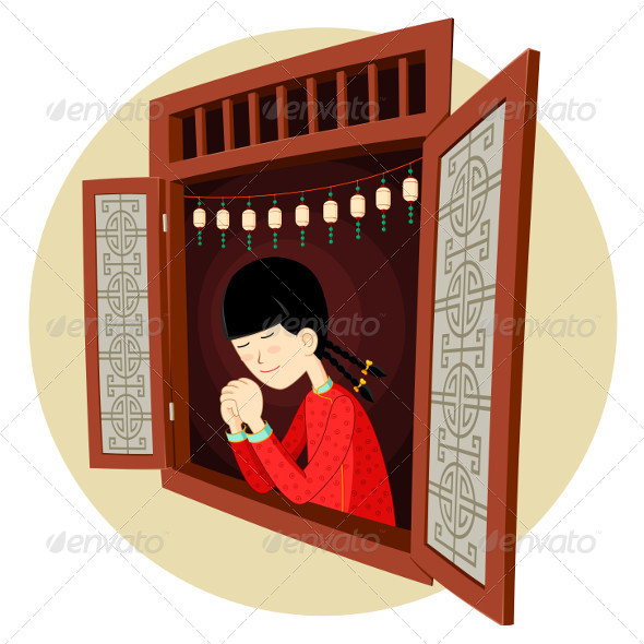 Chinese Girl Praying in the Window - Religion Conceptual