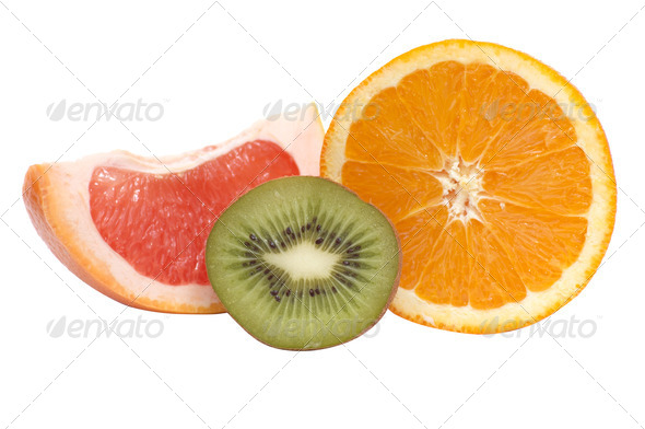 Segments of kiwi,orange and grapefruit. - Stock Photo - Images