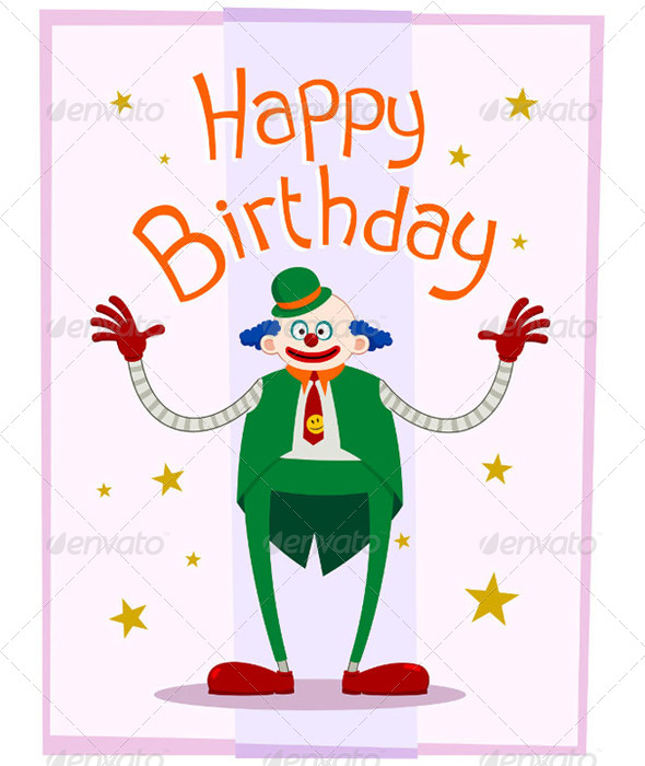 Fat Clown Birthday Greeting - Birthdays Seasons/Holidays