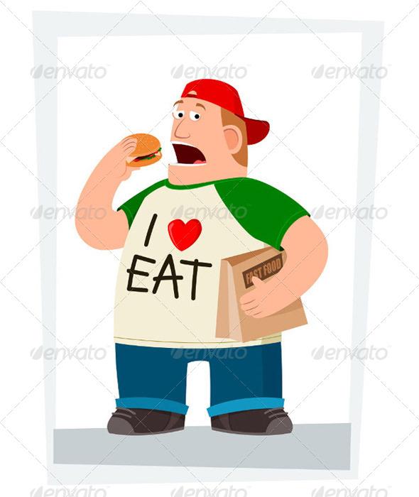 Fatman Eating Hamburger - Health/Medicine Conceptual