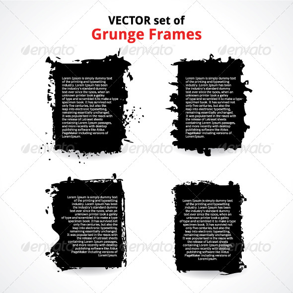 Vector Set of Grunge Frames - Borders Decorative