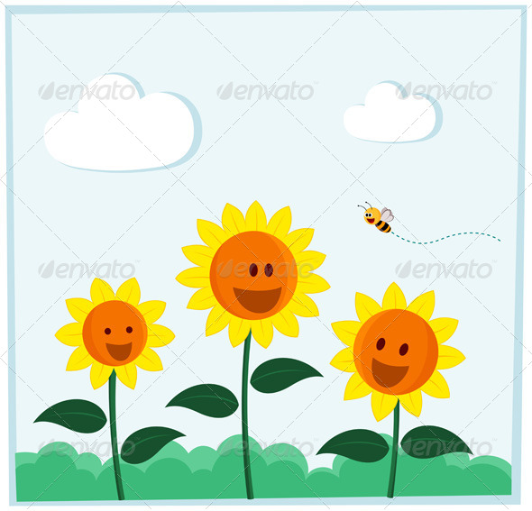 Smiling Sunflower - Flowers & Plants Nature