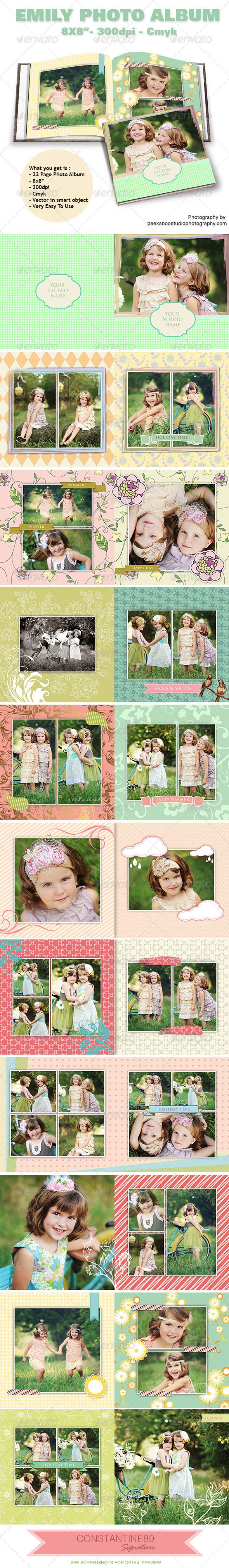 Emily Photo Album - Photo Albums Print Templates