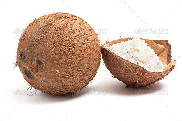 Whole and half part of coconut. - Stock Photo - Images