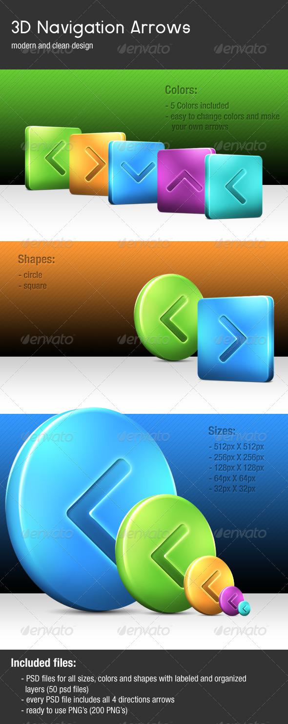 3D Navigation Arrows - Buttons Web Elements
