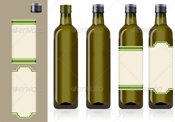 Four Olive Oil Bottles with Labels - Food Objects